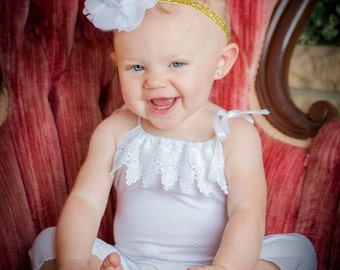 White Sitter Romper, Photo Prop, Homemade