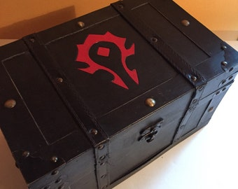 DEFECT item reduced***World of Warcraft Horde inspired LARGE size wooden box chest -books, cards, treasure