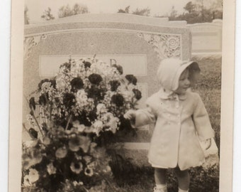 Macabre Baby With Headstone Grave Marker Vintage Photo Little Girl In Cemetery Graveyard Mid Century Modern Antique Photograph