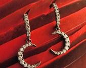 Moon Jewelry - Moon Earrings -  Crescent Moon Earrings -Black Hematite Finish - Delicate CZ Moon Earrings