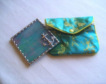 Stained Glass Purse Mirror|Pocket Mirror|Anchor|Turquoise|Iridescent|Yellow Pouch|Bath & Beauty|Makeup Tools|Handcrafted|Made in USA