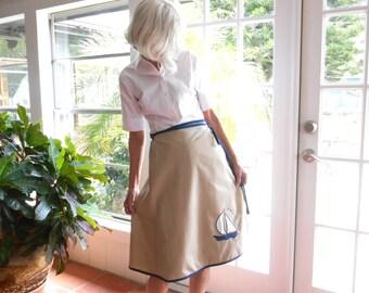 Vintage wrap skirt wraparound skirt khaki sailboat applique navy trim retro kitsch 1970's: large