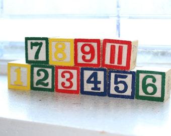 Vintage Wooden Blocks Set of 10 Toy Number Blocks