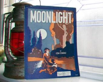 Vintage Sheet Music 1921 Moonlight by Con Conrad
