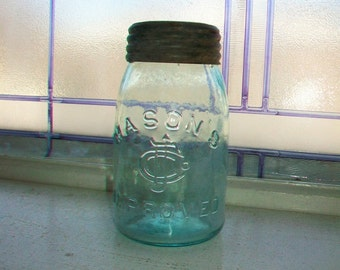 Mason's Improved Blue Pint Jar with Matching Glass Lid Insert 1870s