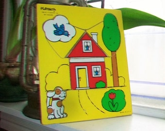 Vintage My House Wood Puzzle Playskool Children's Puzzle Age 2 to 4