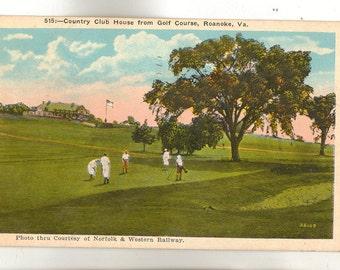 Linen Postcard, Roanoke, Virginia, Club House from Golf Course, 1938