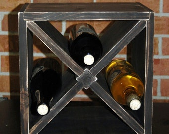 "12"" Rustic Square Wood Wine or Vinegar Rack Kitchen Storage  Expresso Stained Mini"