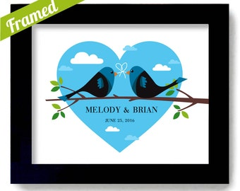 Lovebird Wedding Art Tie the Knot Wedding Gift Centerpiece First Anniversary Newlyweds Sign Unique Engagement Art Print Personalized Couples