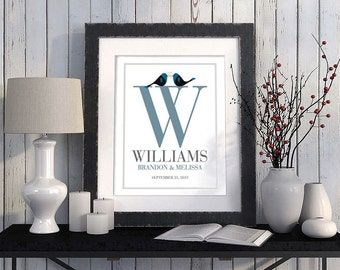Monogram Wedding Gift Personalized Wedding Gift 11x14 Lovebirds Art Print Newlyweds Gift for Couples Engagement Gifts Romantic Gift