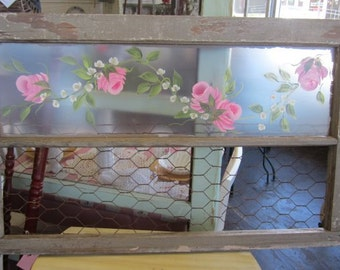 Architectural Salvage Window Pink Roses Rusty Wire Shabby Chic Prairie Cottage Farmhouse