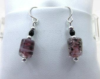 Light Purple & Black Glass Bead Earrings - E129