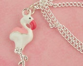 Pink Flamingo Charm Necklace - Retro Rockabilly 50s Pin Up Jewellery - Kitsch Tiki Necklace - Pink Flamingo Jewelry