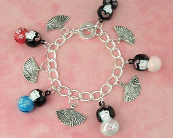 Oriental Japanese Doll Charm Bracelet - Vintage Inpsired - Pin Up - Retro - 50s - Kitsch