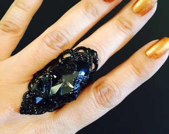 Marquise crystal ring made in a black vintage style filigree with a large black crystal.