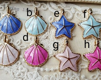 Sea-star and Shell Metal Charm Finding / pendant (.gg)