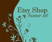 Blue Brown Flower Etsy Shop Set - 7 Piece Premade Etsy Banner OOAK Logo Set for your Etsy Store
