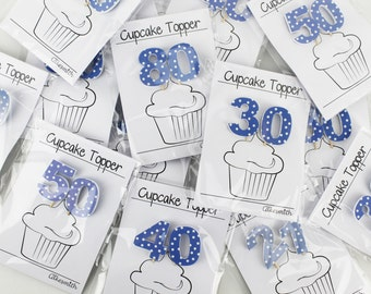 Double-Digit Blue Spotty Birthday Cake Decorations