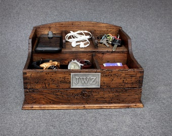 Personalized Rustic Men's Valet Box with charging station. watch box, valet box, cellphone box, iphone box, personalized gift, nightstand