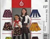 McCall's #M5696 Sz 3-6 or 7-14 Children's/Girls' Pleated or Flared Skirts Uncut Factory Folded