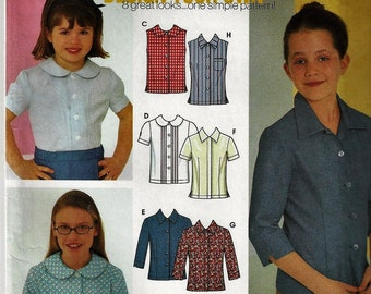 Simplicity 9341 Childs and Girls 8 BLouses Sewing Pattern - UNCUT - Sizes 7 - 14    UncutFactory Folded