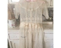 Stunning 1910s 1920s girls gauzy mesh embroidered lace dress with silk sash and ribbonwork flowers