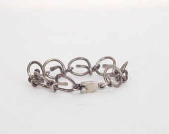 Vintage Mexican Silver Women's Bracelet Intertwined Circles Knotted Circles