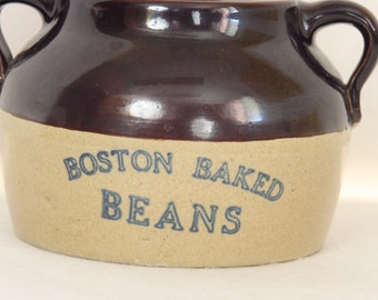Vintage Boston Baked Beans Crock Country Kitchen Decor Storage Crock Bean Pot