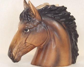 Vintage Horse Head Vase Horse Head Planter Pencil Holder Equestrian Vintage Pottery Art Pottery Horsehead Brown Horse Home Decor