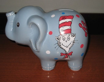 Personalized Ceramic Elephant Bank - Cat in Hat Dr Seuss