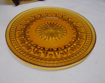 Lunch Plate Indiana Glass Colony Park Lane Amber Glass Salad Plate Gold Amber Mid Century Glass