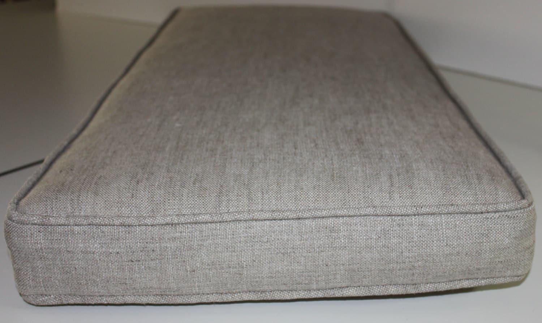 Boxed Piano Bench Cushion Using Oatmeal Belgian Linen Fabric