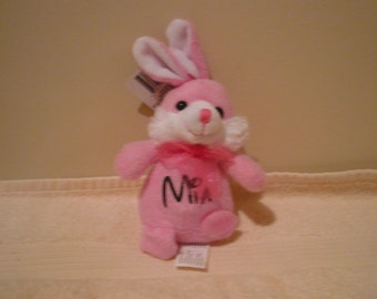 Mia- bunny CLEARANCE SALE , Plush pink bunny, soft baby toy, plush bunny with Mia on it, baby shower gift
