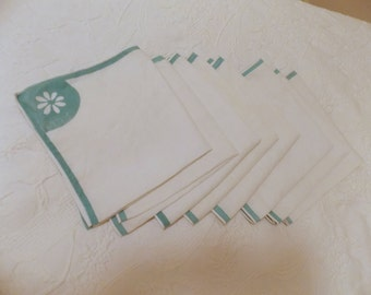 Vintage Linen Napkins, White with Green Trim, Eight Napkins