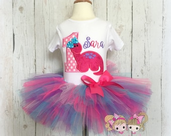 Girls Dino birthday outfit - pink dinosaur birthday tutu outfit - 1st birthday dinosaur outfit - personalized dino outfit for girls