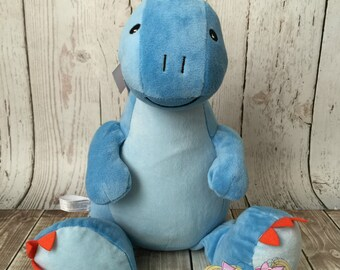 Embroidered Dinosaur Stuffed Animal- Unique Gift- Baby gift- Monogrammed custom stuffed blue Dino