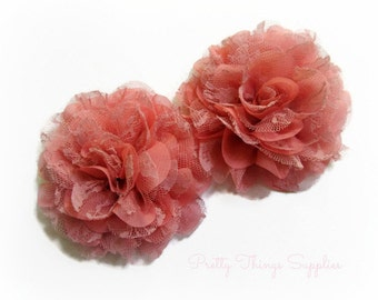 Rose Lace Chiffon Flowers. Lace and Chiffon Flowers.  2 pcs. SIOBHAN Collection.