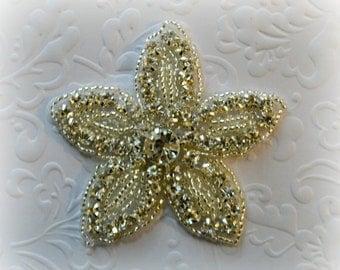 ON SALE Rhinestone Flower Applique. Rhinestone Beaded Applique. Sparkly Bridal Applique. 1 Piece.