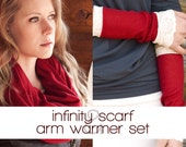 Scarf and Gloves Gift Set for Women, Soft Red Infinity Scarf for Her, Lace Fingerless Arm Warmers, Wife Girlfriend Gift, Winter Scarf