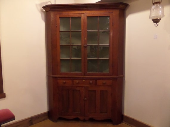 Items Similar To Antique Cherry Corner Cupboard W Paneled
