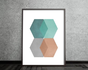 Hexagon, Abstract, Art, Poster, Mid Century Modern, Scandinavian Design, Minimalist, Geometric,  Nordic, Contemporary