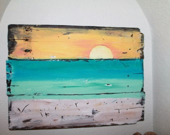 Pallet wood beach sunset sign. Rustic wood art.
