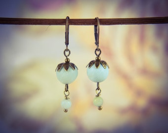 Bronze and Light Green Amazonite Oriental Style Gemstone Drop Earrings [E78]