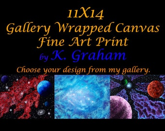 11x14 Gallery Wrapped Stretched Canvas Fine Art Print of Original Art by K Graham Spacescape Landscape Abstract Altered Surreal Photography