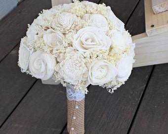 Ready to Ship! Alternative Bridal Bouquet, Sola Flowers, Ivory Wedding Bouquet, Spring, Woodland