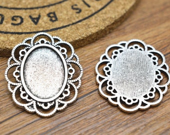 Cameo Setting 15pcs 13x18mm Antique Silver Vintage Look Cabochon Base Settings Charm Pendant M102-5