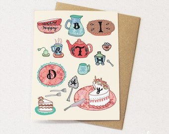 Tea Party Card Tea greeting card Tea birthday card greeting cards paper goods stationery, tea time, cake