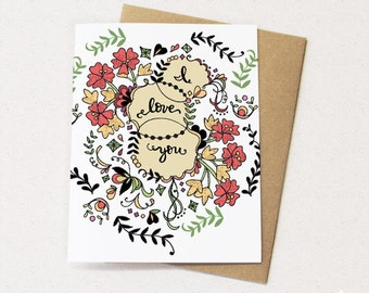 I love you greeting card, love greeting cards, valentines day card, love card