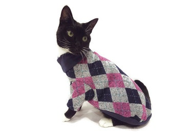 Navy and Pink Argyle Cat Sweater-Argyle Cat Sweater-Cat Sweater-Cat Clothes-Cat Clothing-Cat Apparel-Pet Clothes-Shirts for Cats-Cat Shirts