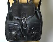 Vintage Leather Large Black Drawstring Rucksack  / Backpack